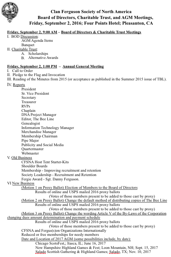CFSNA AGM Agenda 2016